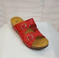 Lola Sabbia Blake Women's Red Leather cork wedge slide sandal US 9 Eur 40