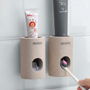Automatic Toothpaste Dispenser Wall hanger Mount Dust Proof Stand Bathroom Set