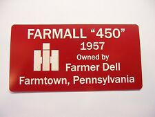 Engraved signs for your antique tractor, John Deere, Farmall, Case, Oliver, more