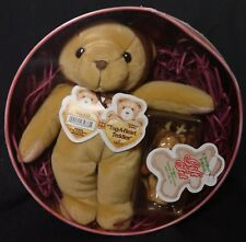 Enesco 1999 Cherished Teddies with reindeer ears round tin gift set Tug A Heart