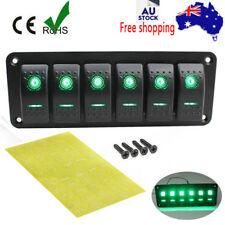 6 Gang Car Boat Marine Circuit Green LED Rocker Switch Panel Breaker 12V/24V FXC