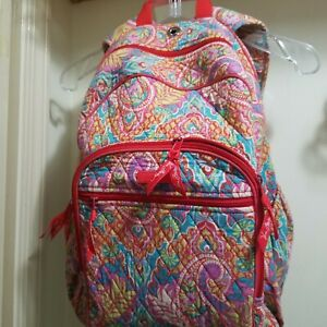 Vera Bradley Large Pink Paisley Book Bag/ Backpack with Audio Jack hole