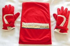 American Eagle Women's Fleece Scarf & Matching Insulated Gloves ~ Red/Cream/Navy
