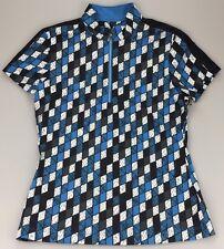 Tail Golf Women's Large Sleeveless 1/4 Zip Mock Neck Shirt Viper Blue Black