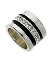 NWT Guess Silver Metal & Black Enamel Clear Rhinestone Band Ring, Size 7