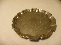Vintage silver plated serving tray marked Towle