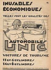 J0644 Automobiles UNIC - Pubblicità d'epoca - 1929 Old advertising
