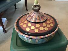 MACKENZIE CHILDS TURQOAY PIECE DE RESISTANCE RETIRED LIDDED HANDMADE