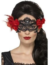 Day of the Dead Lace Filigree Eyemask With Roses Burlesque Fancy Dress Mask
