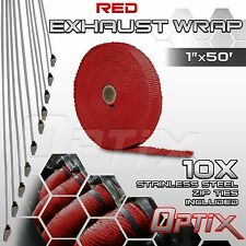 "1"" x 50' Manifold Header Exhaust Thermal Heat Tape Wrap Roll + Ties - Red"