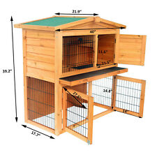"""40"""" A-Frame Wood Wooden Rabbit Hutch Small Animal House Pet Cage Chicken Coop"""