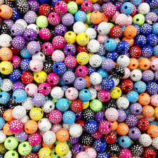 100 Pcs & 8mm Acrylic Round Rhinestone Spacer Loose Beads For Jewelry Making
