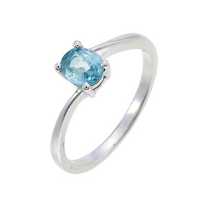 Natural Blue Zircon 925 Sterling Silver 1.07 Carats Ring Rhodium Plated