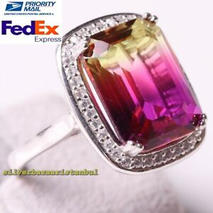 Natural Tourmaline Stone Handmade 925 Sterling Silver Luxury Ladies Womans Ring