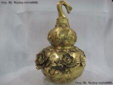 Chinese Brass Copper FengShui lucky Peony bat longevity Fu Gourd Cucurbit Statue