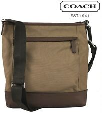 Coach F70820 Khaki/Brown Camden Canvas Zip Top Crossbody Messenger - MSRP $228