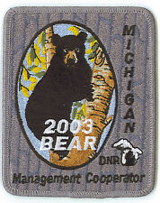 2003 MICHIGAN DNR SUCCESSFUL BEAR HUNTER PATCH-DEER-TURKEY-ELK-MOOSE-FISHING
