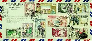 LAOS 11v MIXED THEME ON AIRMAIL COVER FROM VIENTIANE TO BRACKWEDE GERMANY