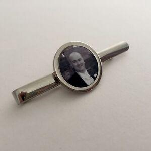 Silver Tie Clip / Slide -Personalised with  photo, Wedding Funeral Keepsake Gift