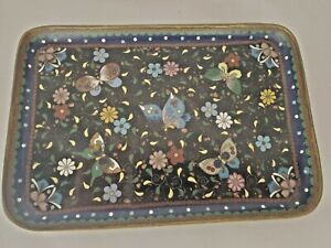 Exceptional Vintage Antique Chinese Cloisonne Butterfly Tray