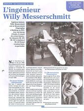 WWII Willy Messerschmitt M 35/ Bf 109 Me 262 Me 210 Me 321 Germany FRANCE FICHE