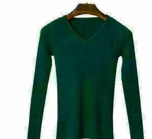 Solid T-shirt Long Sleeve Knitted sweater Fashion Women's Tight Tops Blouse