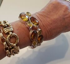 21cm 925 Sterling Silver Plated Faceted Cabochon Yellow Citrine Bracelet 49Grams