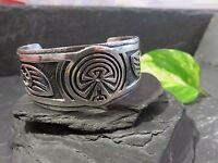 Extragroßer Silber Armreif Schwer Breit Massiv Symbole Mystisch Ethno Hippie Goa