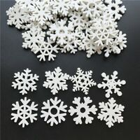 50pcs 35mm Mix Shape Wooden White Snowflakes Christmas Ornament Xmas Decorations