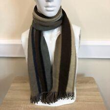 Next Mens Brown Beige Grey Striped Tassle Edge Wool Warm Winter Neck Scarf