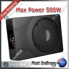 "8"" In Car Subwoofer Amplifier Slim Sub Woofer Inbuilt Amp Cables 500W"
