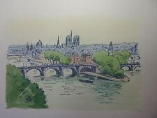 55/  AQUARELLE PARIS /Le Vert Galand et Le pont Neuf