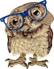 89108 Wise Owl Wearing Glasses Hipster Cute Smart Eyes Embroidered Iron On Patch
