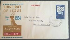 1954 Australia Stamp Fdc - Melbourne Olympics -1/12/54 Airmail Flown Qantas Boac