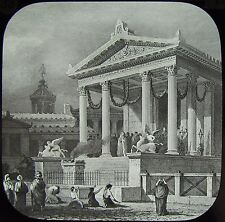 Glass Magic Lantern Slide POMPEII TEMPLE OF FORTUNE RESTORED C1890 DRAWING ITALY