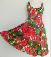 Jones New York Dress Fit-Flared Swing Multicolor Floral Size M Cotton Sleeveless