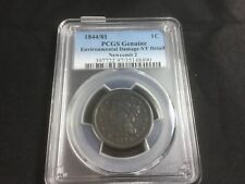 1844/81 Large Cent PCGS Genuine, Env Damage - VF Detail Newcomb 2