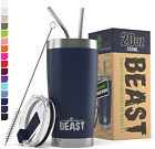 Beast 20Oz Navy Blue Tumbler - Stainless Steel Vacuum Insulated Coffee Ice Cup D
