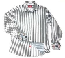 Rufus Mens XL Dress Shirt Button Front Striped Blue/Brown Contrast French Cuff