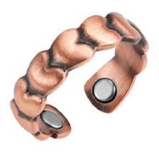 Bague magnétique en cuivre avec aimants - Cœurs en relief