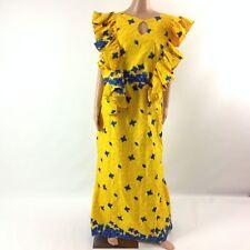 Womens Long Dress African Print Ankara Key Hole Ruffled Multi Color Sleeveless L