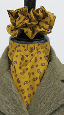 Ready Tied Mustard & Brown Small Paisley Design Cotton Riding Stock & Scrunchie