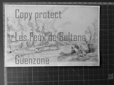 ALPHONSE LEGROS REPOS AU BORD DE LA RIVIERE gravure  1914 antique print
