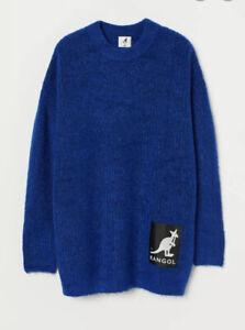 BNWT KANGOL x H&M OVERSIZED WOOL BLEND JUMPER SIZE XS IN CORNFLOWER BLUE