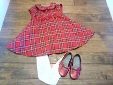 EUC! Baby Girls Rare Editions Red Plaid Holiday Dress Tights & Shoes Size 2T
