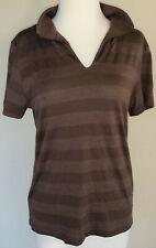 Ibex merino polo T shirt, brown stripe, women's M