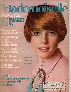 1967 MADEMOISELLE July - F Lee Bailey; Twiggy;Robert Redford;Colored nylons;Kilt
