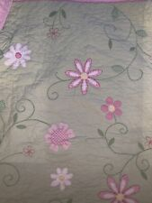 Pottery Barn Kids Cotton Hand Quilted Embroidered Floral Reversible Twin Quilt