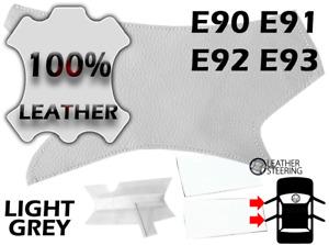 BMW 3 E90 Passenger Door Handle Leather Cover (Light Grey, White Stitch, LEFT)