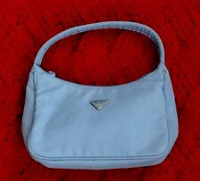 Authentic PRADA  Small LIGHT BLUE Nylon HOBO Handbag  - Mint